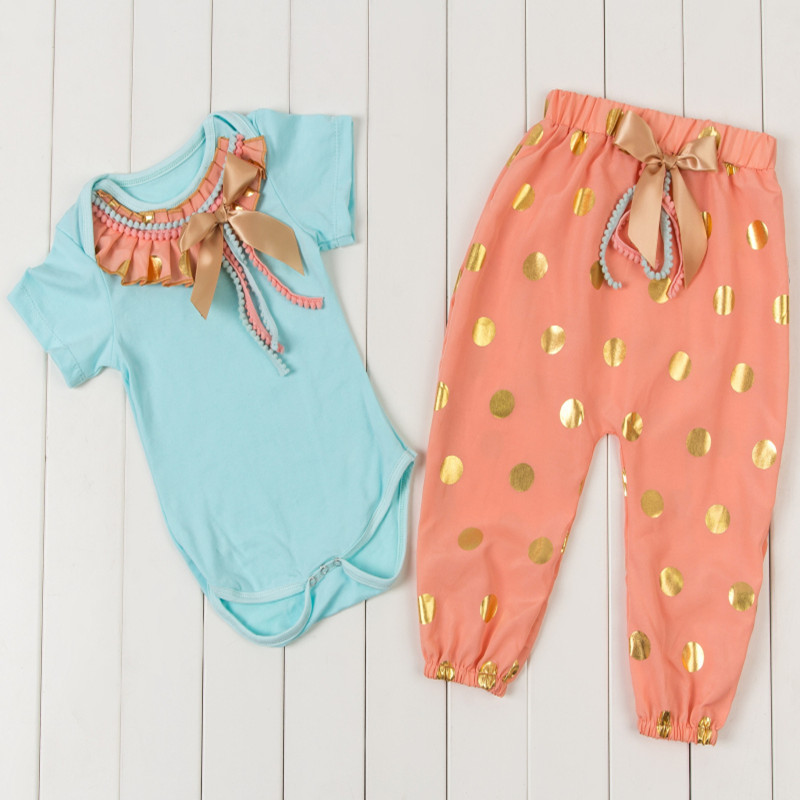 Floral Baby Girls Outfit Pink Princess Girls Capris Bodysuit Baby