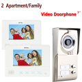 "MOUNTAINONE wired 7"" Touch video door phone intercom system doorbell IR night vision outdoor Camera 2 white monitor for 2 house"