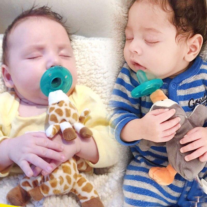 Siliconborn Infrant Pacifier Holder Animal Cute Rabbit Handbells Plush Baby Toy Gift Plush Doll