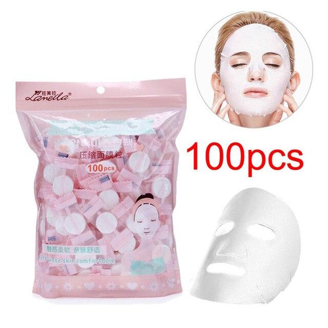100 piezas de papel de máscara facial comprimida para mujer, papel de mascarilla desechable, cuidado de la piel Natural para mujer, herramienta de maquillaje para el cuidado de la cara #