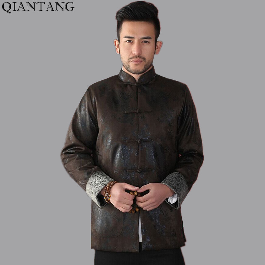 Brown Winter Thicking Outerwear Traditional Chinese Style Men Padded Jacket Long sleeve Coats Size S M L XL XXL XXXL Mim08C