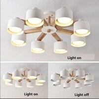 現代の Led のシャンデリア寝室 Suspendsion 照明器具木製照明鉄ランプシェード北欧シャンデリア