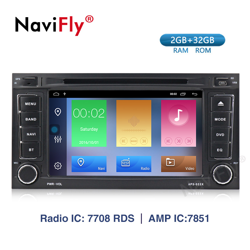Navifly! 2din Android 9.1 Car dvd radio audio Multimedia Player for VW Touareg Multivan T5 2002 2010 GPS Navigation WIFI BT RDS