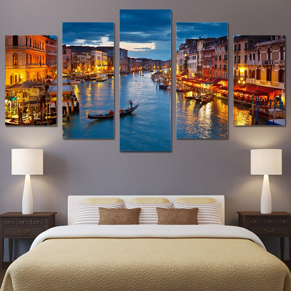 Poster Canvas Light Painting Pictures Modular-Decor Wall-Art Venice Landscape Water-City