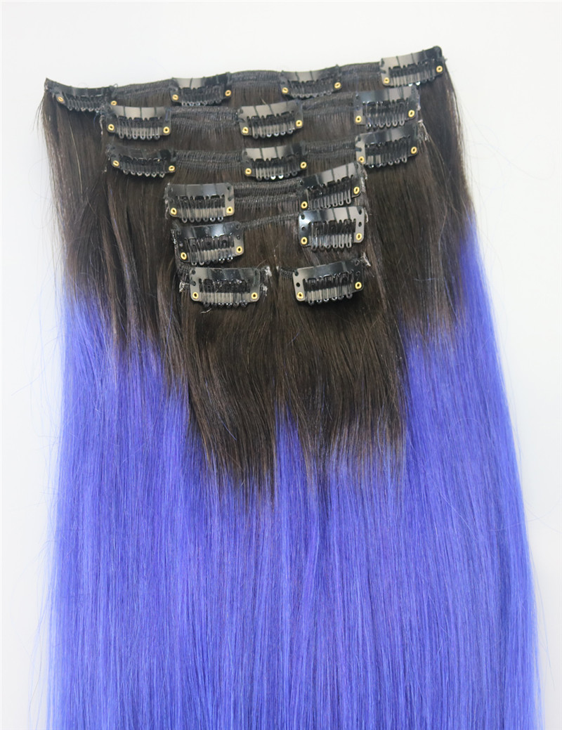 Ombre Purple Clip In Human Hair Extensions Malaysian Virgin Hair Clip In Extension Clip Ins For Purple Hair