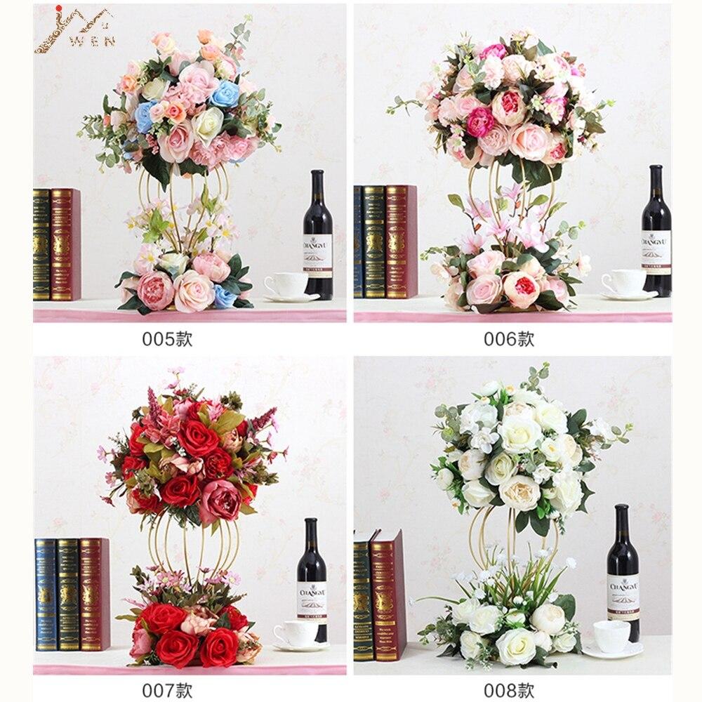 Artificielle Rose fleurs route plomb luxe 1/2 ronde boule feuilles Table de mariage pièce maîtresse fête décoration de la maison 12 couleur