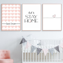 Little Heart Baby Girl Room Decor Nordic Poster Sweet Dream Wall Art Canvas Painting Prints Cartoon Picture Nursery Unframed