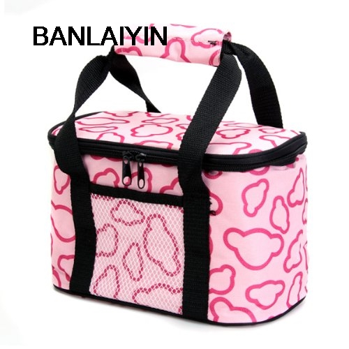 AUAU Insulated And Water-Proof LIning Lunch Box Bag Cooler Tote Bag--Pink