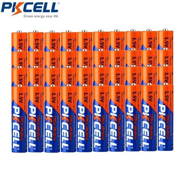 40Pcs * PKCELL LR03 3A Baterias 1.5V AAA סוללה אלקליין ליחד יבש סוללה עבור מצלמה מחשבון מעורר שעון עכבר