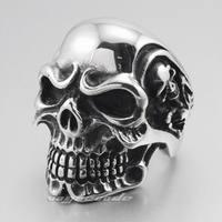 Huge 316L Stainless Steel Titan Skull Skeleton Mens Biker Ring 3A001