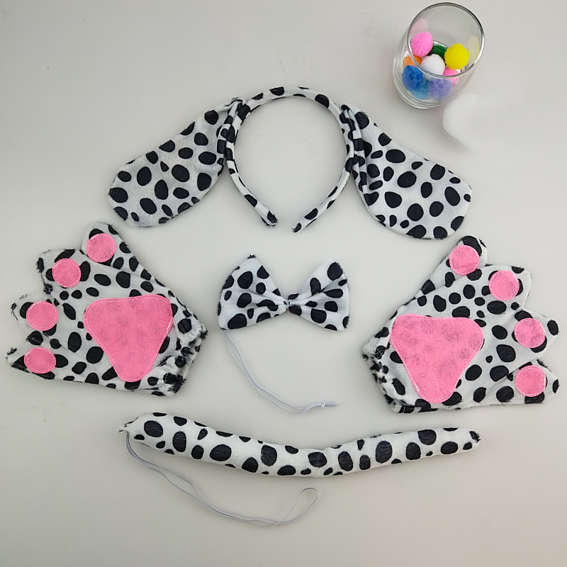 Party Halloween Animal Dalmatian Dog Ears Headband Headwear Bow Tie Tail Paws Gloves Cosplay Costume Kids Adult
