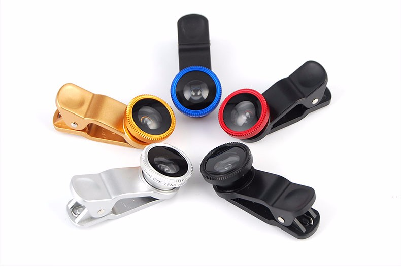 New Fish Eye lens,Wide Angle + Clear Macro Lens For Iphone 5s 6 7 Universal 3 in 1 Phone Camera Len For Sansung Huawei Sony HTC 23