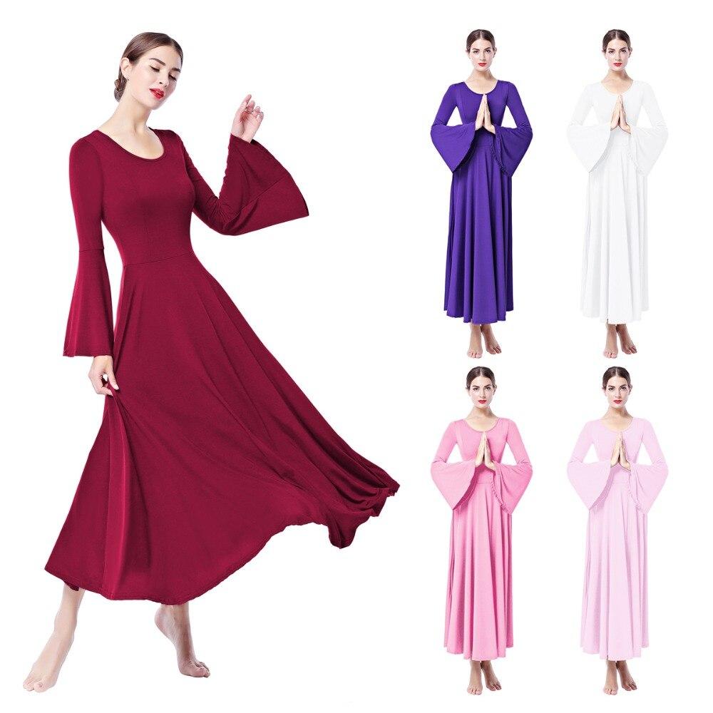 2019 New Fashion Ladies Women Worship Praise Dance Dress Girls Elegant Bell Sleeve Praise Liturgical Ballet Dance Fit Maxi Dress