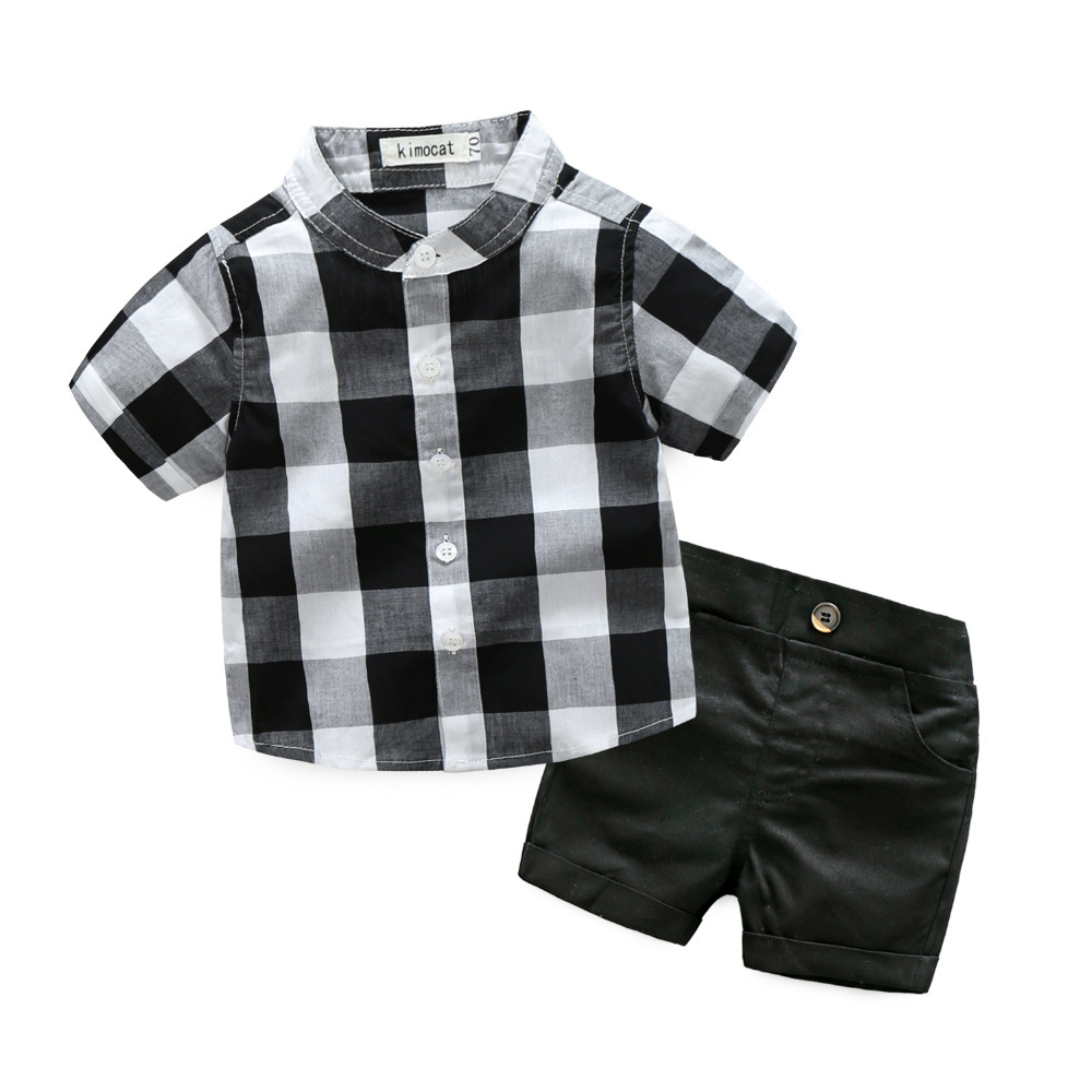 2pcs Baby Boys Clothes Spring Autumn Plaid Leisure Short Sleeved T-shirts + Pants Newborn Baby Boy Clothes Kids Outfits Sets