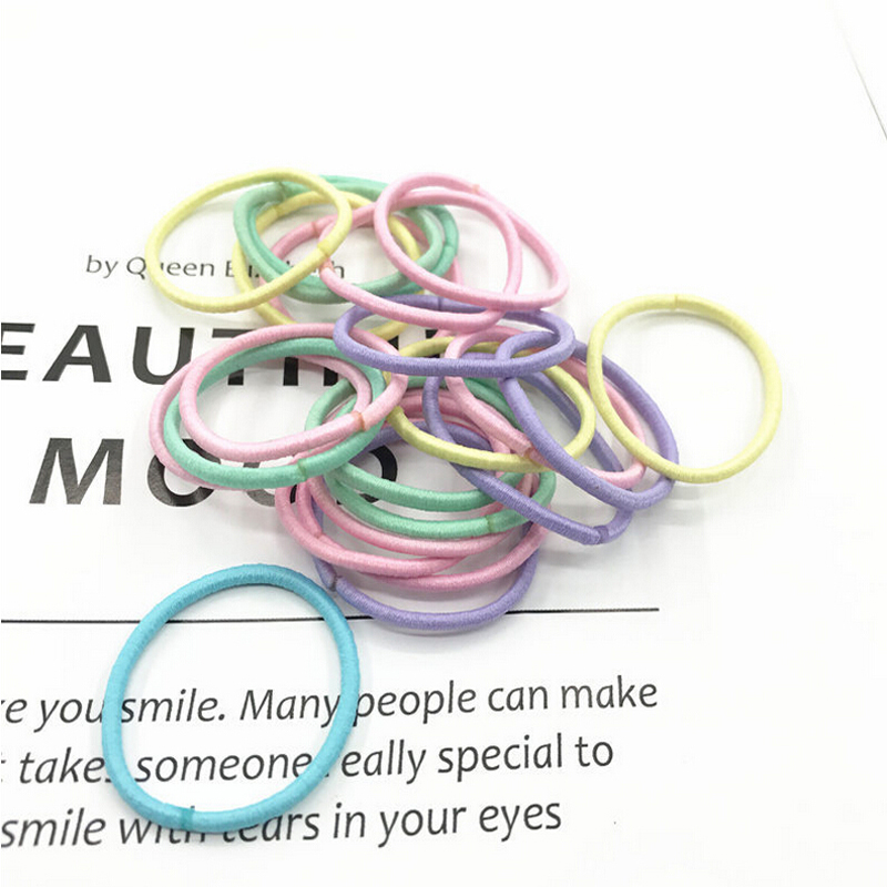 New 100PCS/Lot Girls Candy Colors Nylon 3CM Rubber Bands Children Safe Elastic Hair Bands Ponytail Holder Kids Hair Accessories