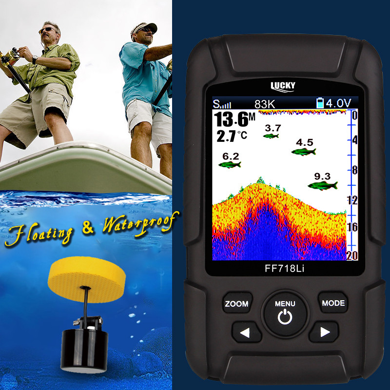 LUCKY FF718LiCD-T 2.8 Color LCD Portable Fish Finder 200KHz/83KHz Dual Sonar Frequency 328ft Detection Depth fishing Finder