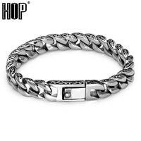 HIP Punk Vintage Mens Bracelet Cool 316L Stainless Steel Curb Cuban Link Chain Bracelets For Men Jewelry Antique