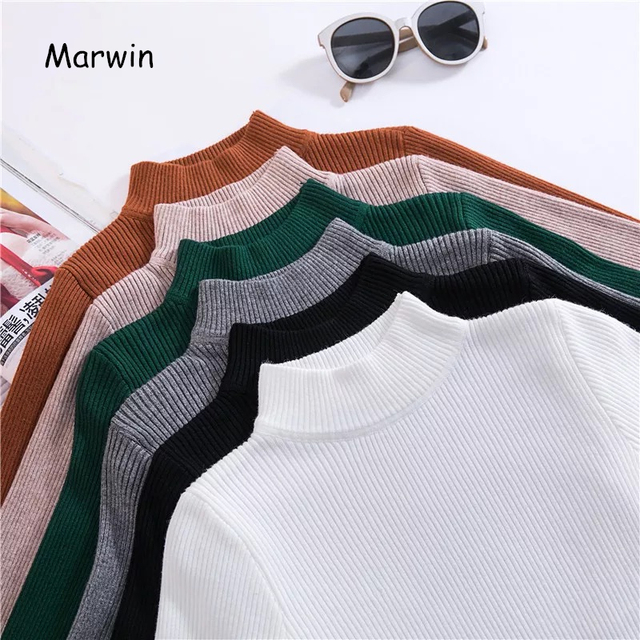 Marwin 2018 New-coming Autumn Turtleneck Pullovers Sweaters Primer shirt long sleeve Short Korean Slim-fit tight sweater