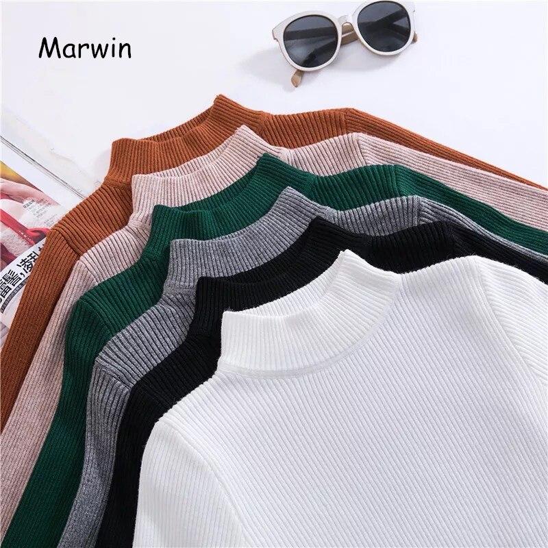 Marwin 2018 nuevos de Otoño de cuello alto suéteres Primer Camisa larga manga corta coreano Slim-fit suéter ajustado