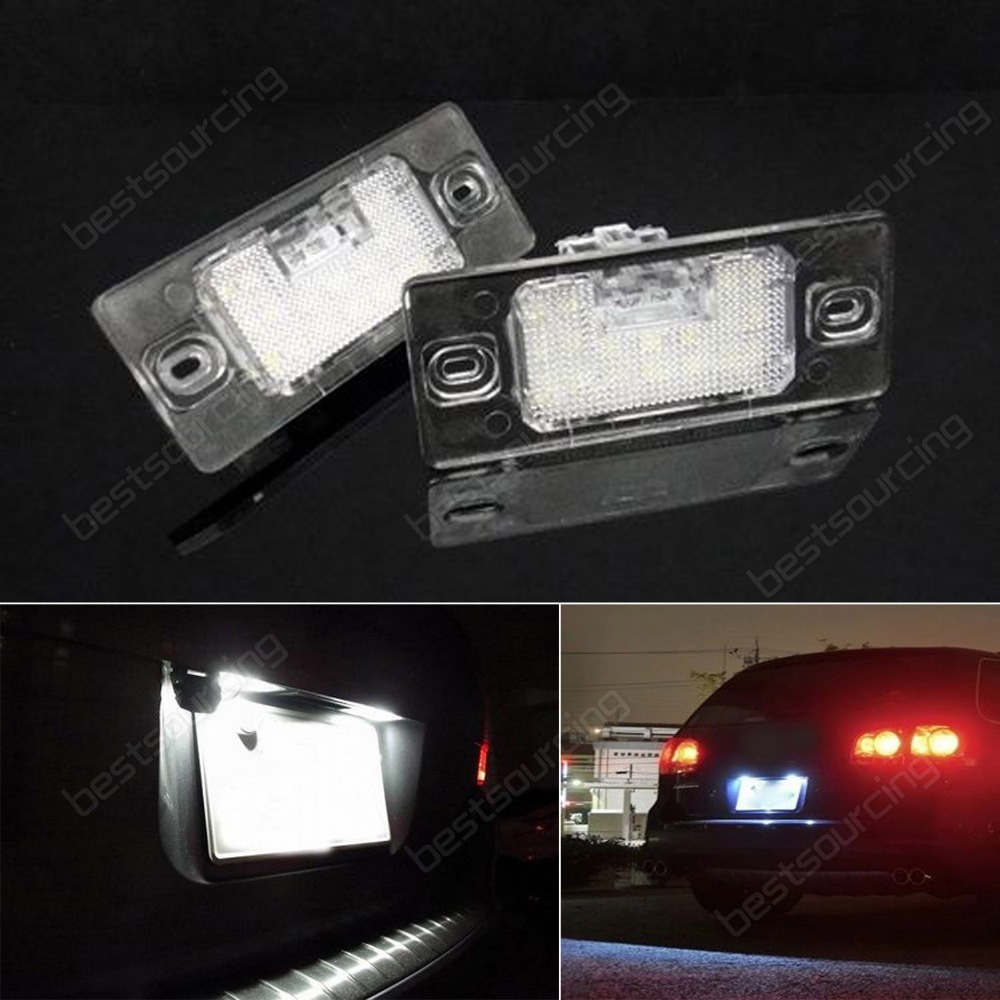 Canbus Cayenne 955 9PA Audi TT 8J VW Golf LED License Number Plate Light(CA204) cawanerl car canbus led package kit 2835 smd white interior dome map cargo license plate light for audi tt tts 8j 2007 2012