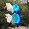 Бесплатная доставка танец живота Вентилятор Завесы красочные 100% шелк вентилятор Veil 3 цвета Белый/Бирюзовый/Синий