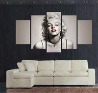 5 Panel Large Moviestar Poster HD Printed Painting Marilyn Monroe Canvas Print Home Decor Wall Art