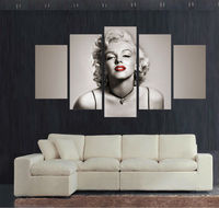 5 Panel Large Moviestar Poster HD Printed Painting Marilyn Monroe Canvas Print Home Decor Wall Art