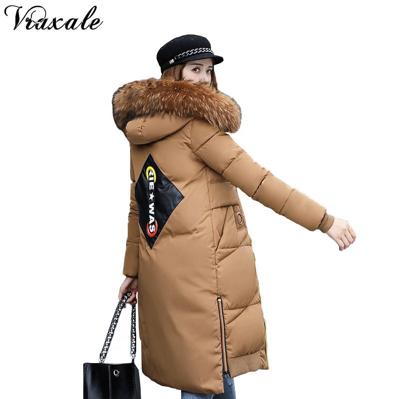 купить Vraxale Cotton-padded Jacket Slim Long Parkas Female Warm Overcoat Big Fur Collar High Quality Thicken Winter New Outwear дешево