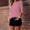 New Spring Autumn Women Red White Striped Long Sleeve Casual Loose T-Shirt Tops Pullovers Blusas Tee Shirt Ropa Mujer L3