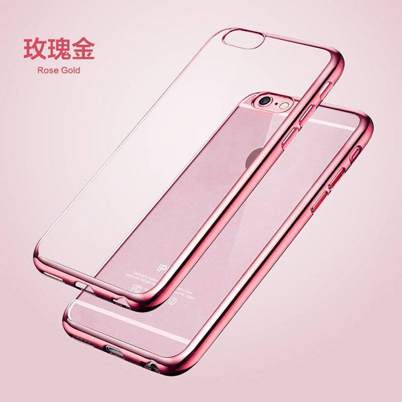 Luxury TPU Rose Gold Plating Crystal Clear Case For iPhone 5s Cases 6 5 6s Plus Clear Silicone Case for iPhone 7 Case Plus P15