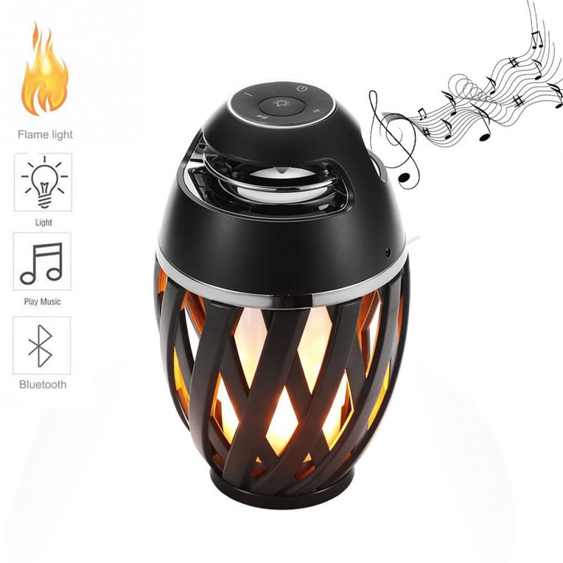 LNBEI Flame Atmosphere Lamp Light Bluetooth Speaker Portable Wireless Stereo Speaker with LED Flickers Outdoor Camping Woofer