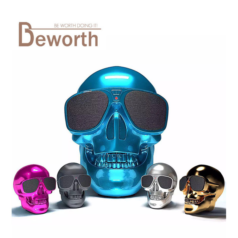 Bluetooth Speaker Sunglass Skull Head Portable Wireless Mobile Loud Subwoofer 8W Super Bass USB Aux In 3.5mm Audio Jack Cool