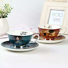 European Bone Porcelain Coffee Cup and saucer Oil Painting Ceramic Set Teacup Fashion  Home Party Drinkweare