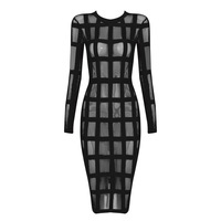 Women Sexy Mesh See Through Bandage Dress Red Black Apricot Long Sleeve Bodycon Midi Dress Ladies Chic Celebrity Party Dress