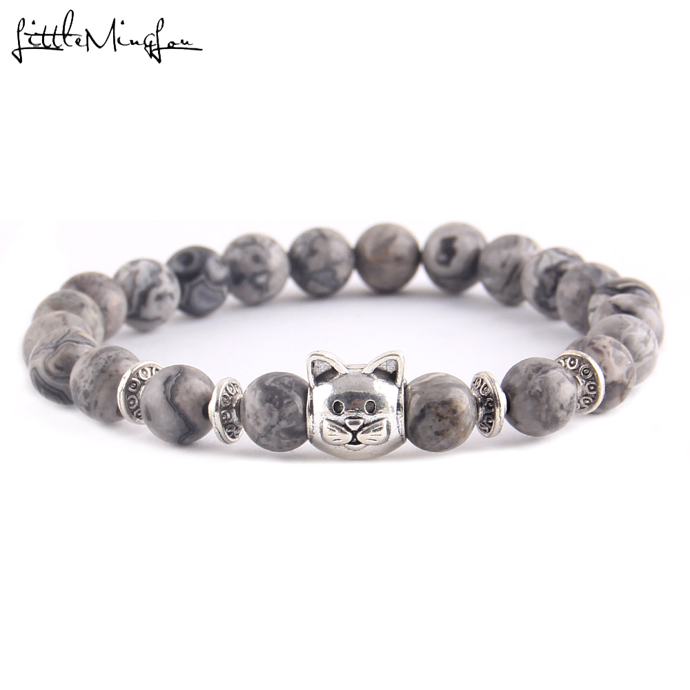 Little MingLou Fashion Trendy Cute Cat Charm men bracelet Lava Natural Stone 8mm Beads yoga Bracelets Bangles for women Jewelry