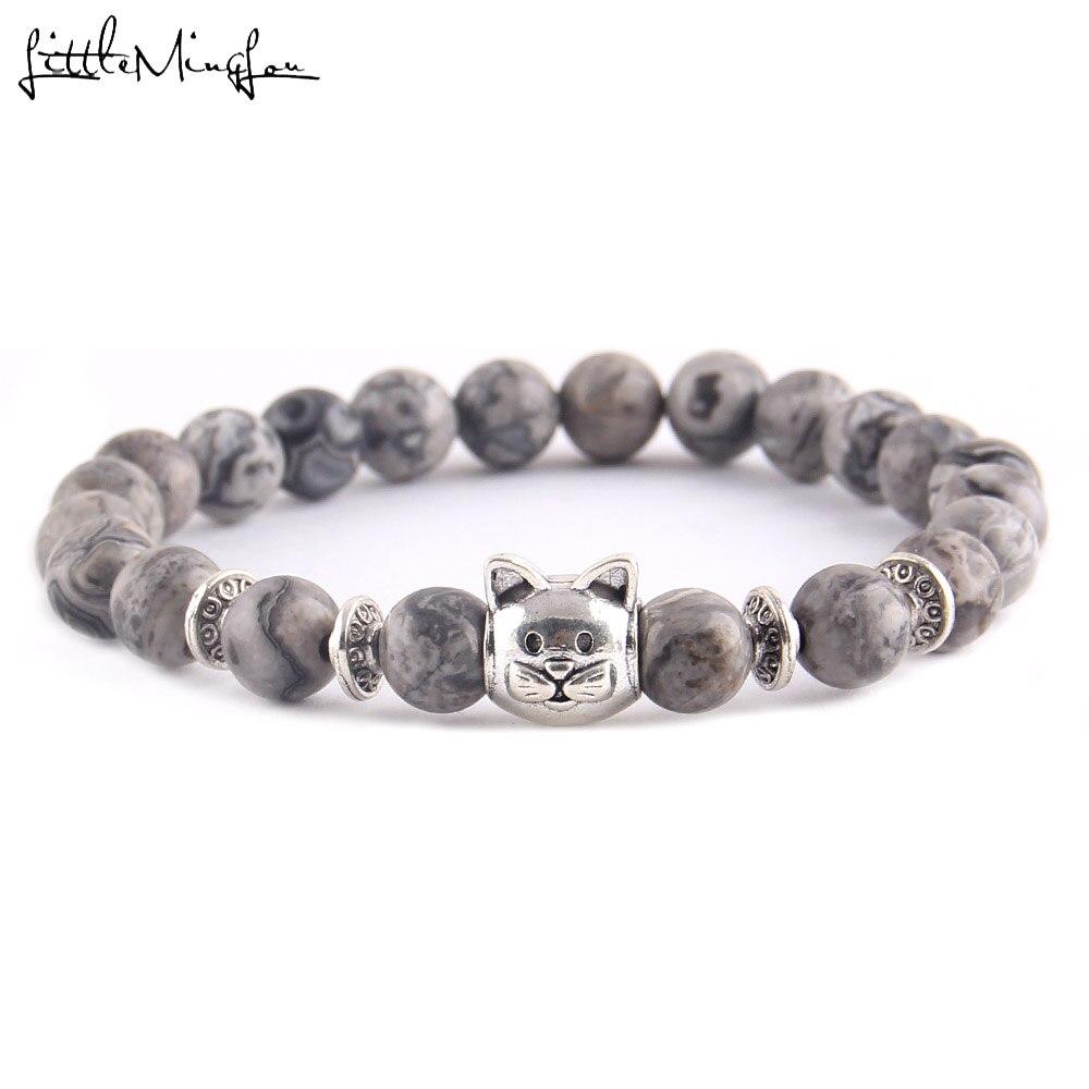 Little MingLou Fashion Trendy Cute Cat Charm men bracelet Lava Natural Stone 8mm