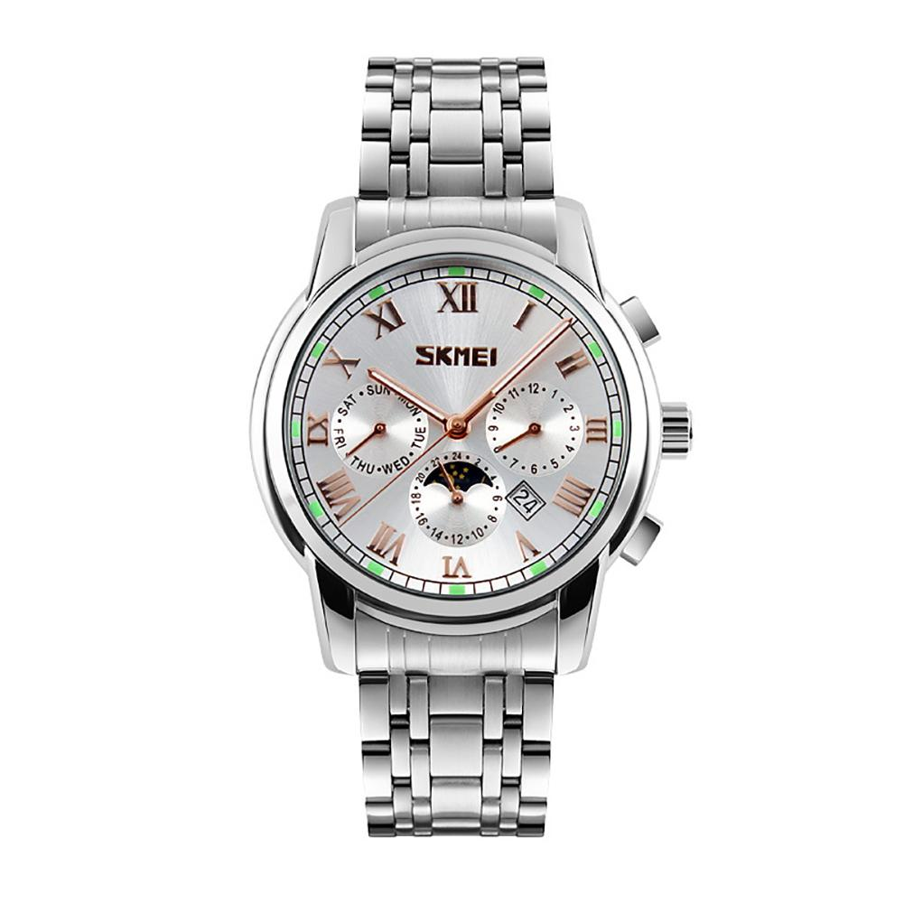 Business Men Stainless Steel Band Roman Numerals Sub-Dial Wrist Watch Gift