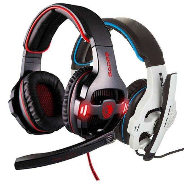 Sades SA903 7.1 Pro Gaming Headset gamer Wired noise canceling Headband bass game headset Earphones Headphones