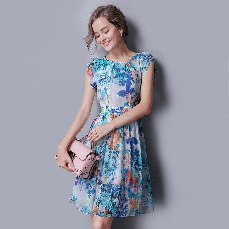 100% шелковое шифоновое платье голубого цвета с цветочным принтом, богемное шелковое платье, рождественское платье для женщин, Новогодняя же...