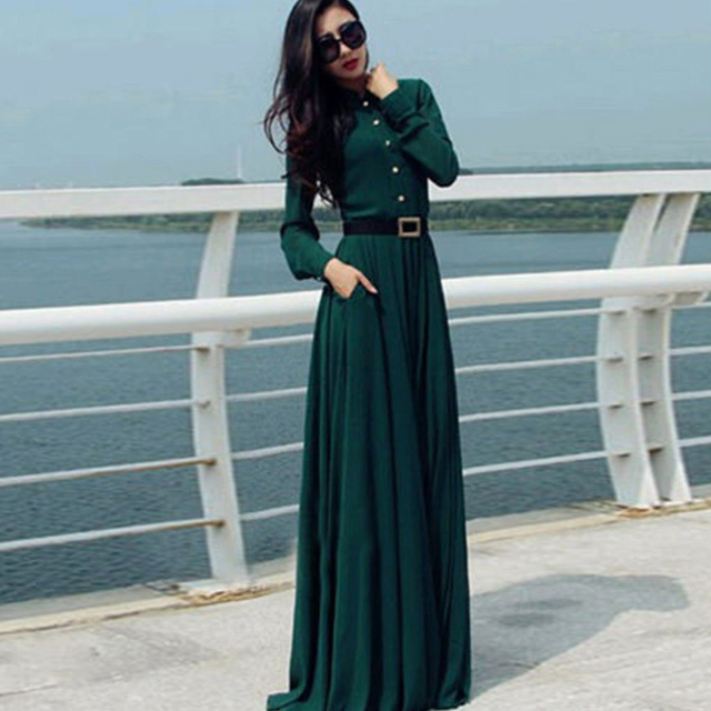 1252d5e1bb5 Women s Summer Vintage Abaya Islamic Muslim Dress Long Sleeve Cocktail Maxi  Long Dress Retro 50s 60s