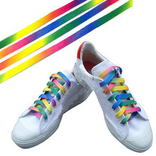 1Pair Polyester Colorful Laces Rainbow Gradient Print Flat Canvas Shoe Lace Shoes Casual Chromatic Colour Shoelaces(China)