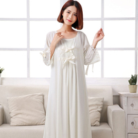Summer Sexy Silk Sling Nightdress Two Piece Long Style Princess Sleepwear Female Ice Silk Nightgowns Woman DS1001