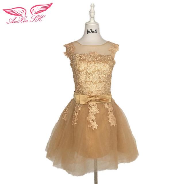 Anxin SH Золотой Кружева Вечернее платье ES спинки Короткие Цветок Круглая горловина вечернее платье ES принцесса лук Rose Illusion вечернее платье