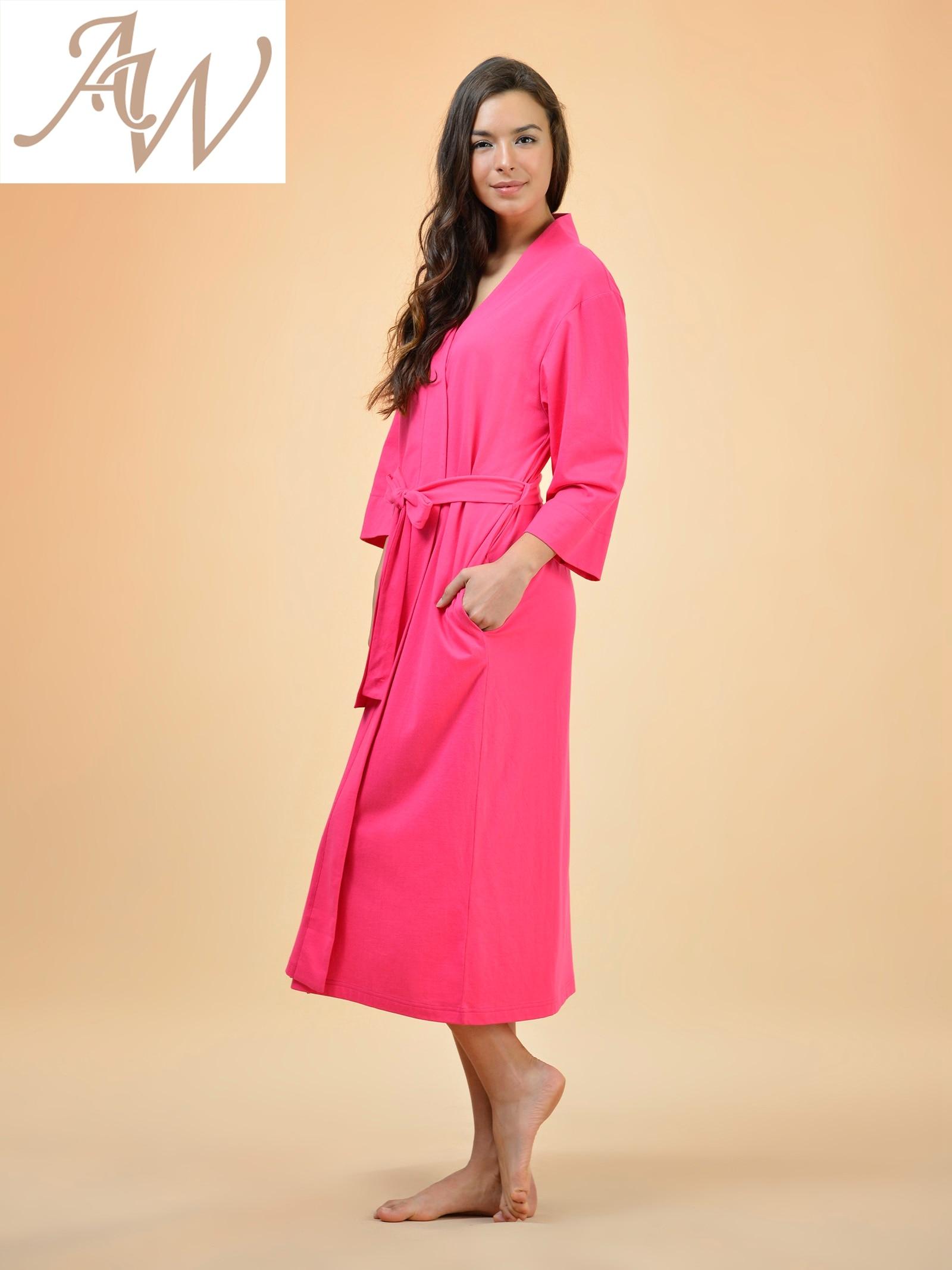 Cotton Robes Soft Kimono Robe Long Knit Bathrobe Nightwear Lightweight  Loungewear Nightdress V neck Sexy Sleepwear for women-in Robes from  Underwear ... 517bda48b