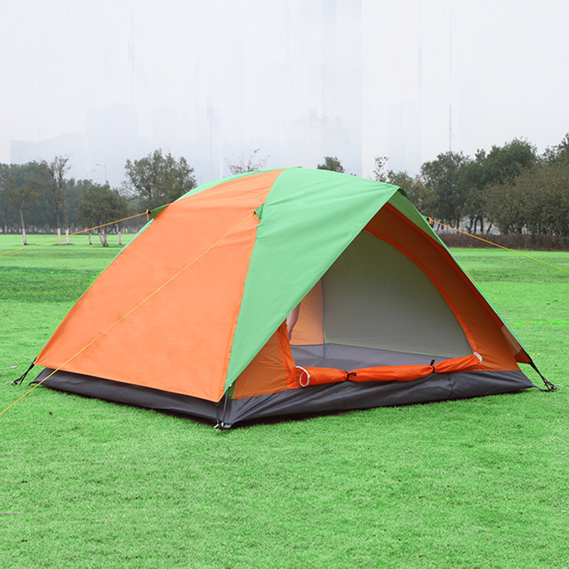 Double Layer 2 Person Outdoor Camping Tent Glass Fiber Rod Fishing Barraca Waterproof Hiking Leisure Beach Awning Tente ZP102 yingtouman outdoor 2 person waterproof double layer tent fiberglass rod portable ultralight camping hikingtents
