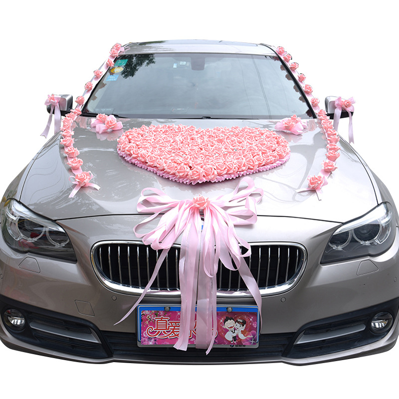 Wedding Car Decoration Artificial Flowers Heart-shaped Party Valentines Day DIY Fake