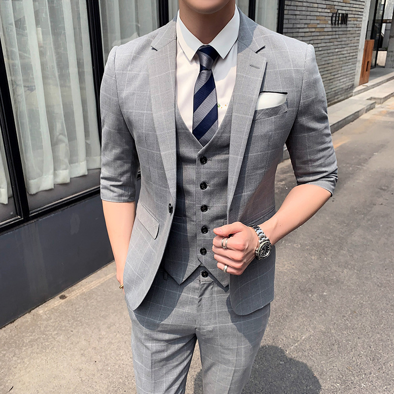 (Jacket+Vest+Pants) Men's Wedding Dress 2019 Summer New Style Mens Fashion Plaid Blazer Suit Men Half Sleeve Man 3 Pieces Set