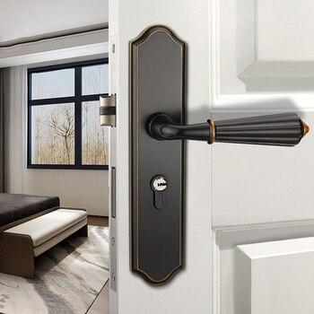 Black Zinc Alloy Door Locks With Single Handle Continental Bedroom Minimalist Interior Door Handle Lock Cylinder Security Locks