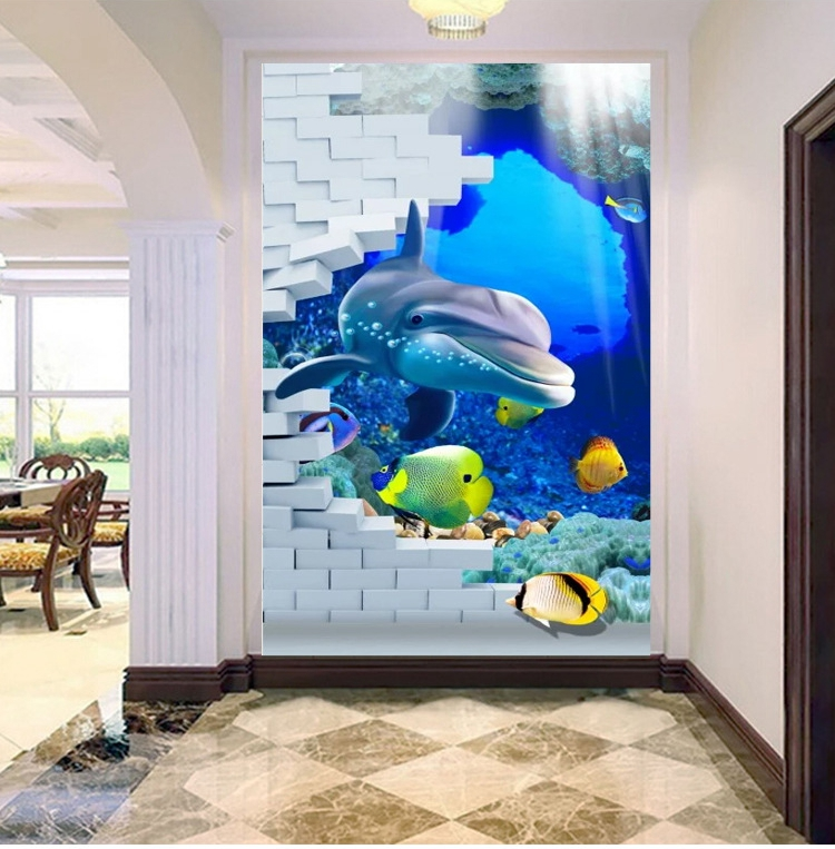 Customized 3D Photo Wallpapers Dolphin Underwater World Murals Living Room Entrance Hallway Backdrop Mural Wallpaper Decor 3D sunflower 3d wallpapers 3d wall murals non woven fabric eco friendly durable entrance hallway 3d stereoscopic wallpapers decor