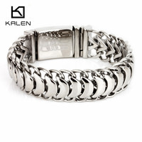 Kalen New High Polished Shiny Bracelets Stainless Steel Bike Link Chain Bike Chain Bracelets Fashion Male Accessories 2018